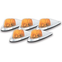 PACER PERFORMANCE Hi-Five Cab Roof Lights Amber Deluxe Chrome P/N - 20-105
