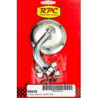 RACING POWER CO-PACKAGED Chrome Steel Peep Mirror w/Short Arm 3in P/N - R6608