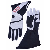 RACEQUIP/SAFEQUIP Gloves Outseam Black/ Gray Large SFI-5 P/N - 358605