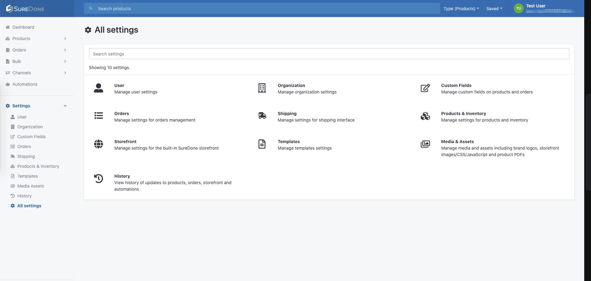 UI all settings