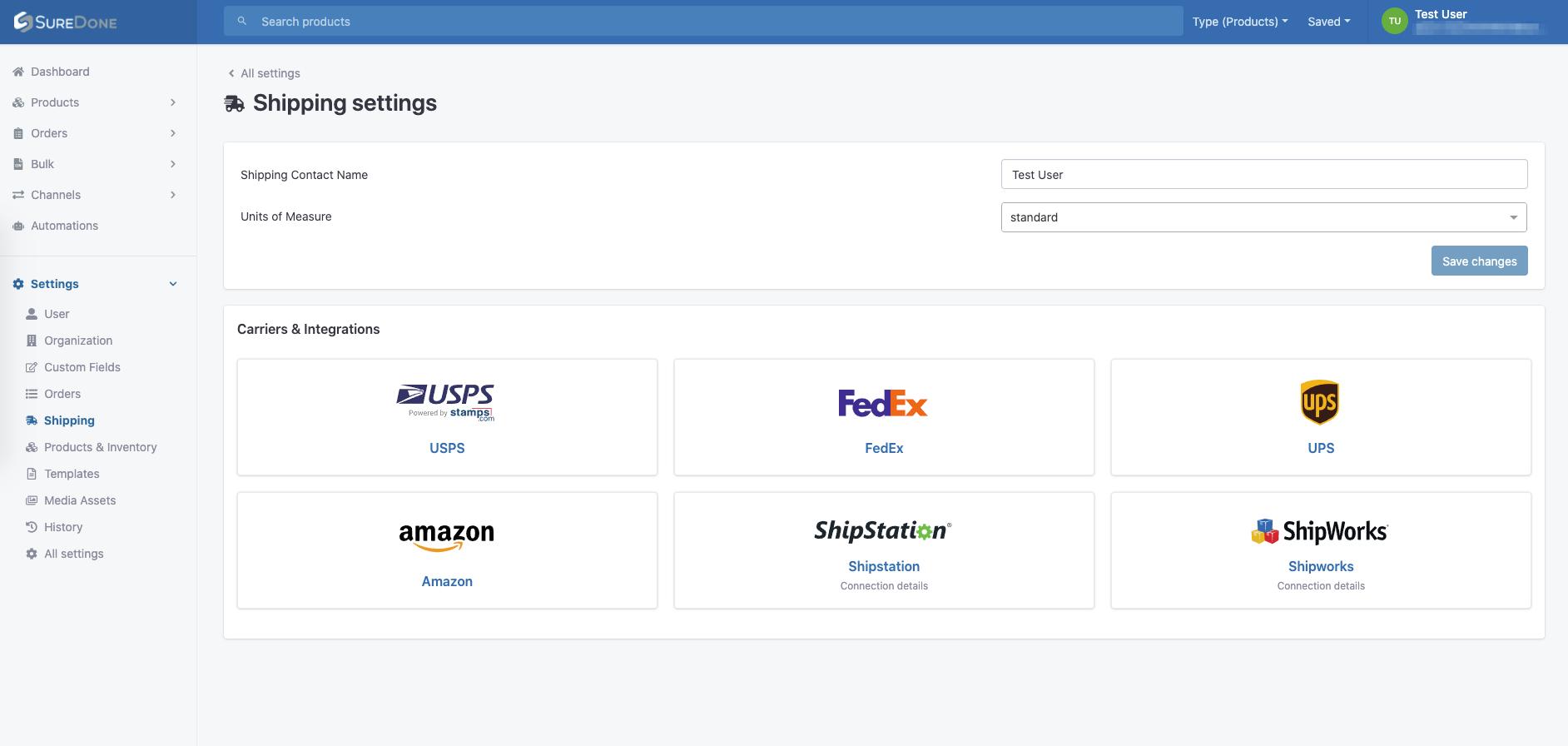 UI shipping settings