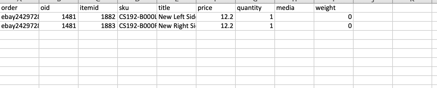 orders line item export csv