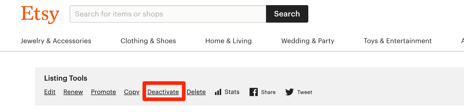 Etsy variation listing deactivate