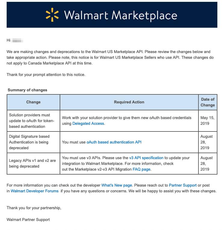 Walmart API oAuth V3 change notice