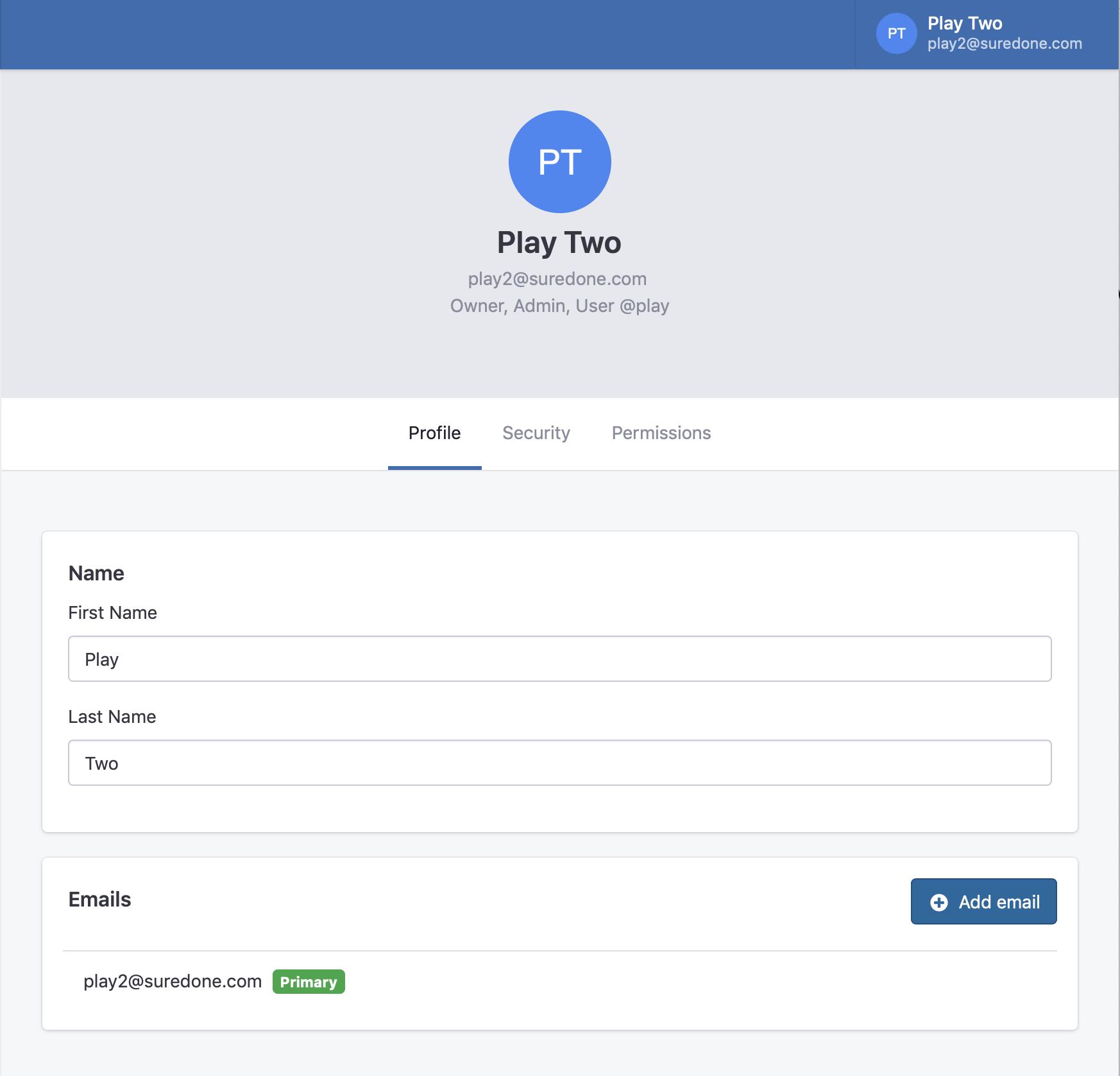 User Settings Interface
