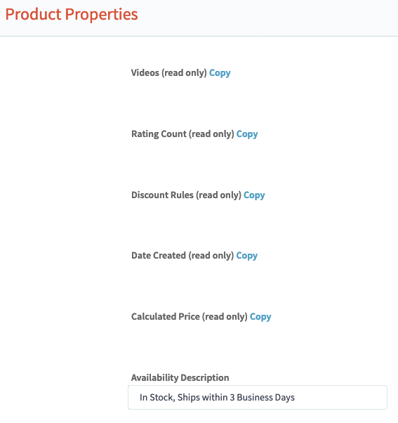 BigCommerce Product Properties